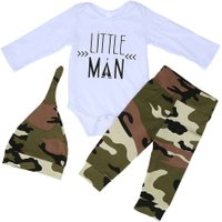 3pcs Newborn Spring Autumn Clothes Set Baby Boys Long Sleeve Letter Print Tops + Camouflage Pants + Hat Outfit Kids Clothing