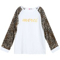 Fashion Style Girls Clothes Child Long Sleeve Leopard Print Top Girl Cotton T-shirt